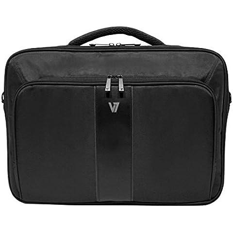 V7 Professional II Frontloader - Funda (Maletín clásico, Negro, Monótono, Cuero, Nylon, Poliuretano, Resistente a rayones,