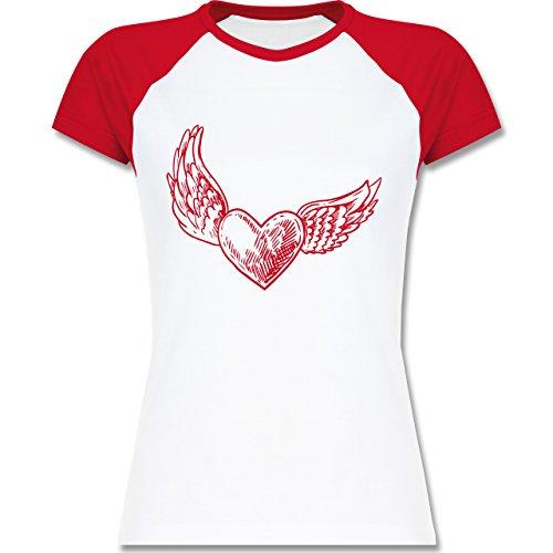 Valentinstag - Engelherz - zweifarbiges Baseballshirt / Raglan T-Shirt für Damen Weiß/Rot