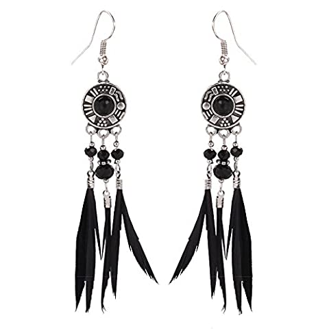 Fashion Personality Alloy Black Feather Drop Earrings