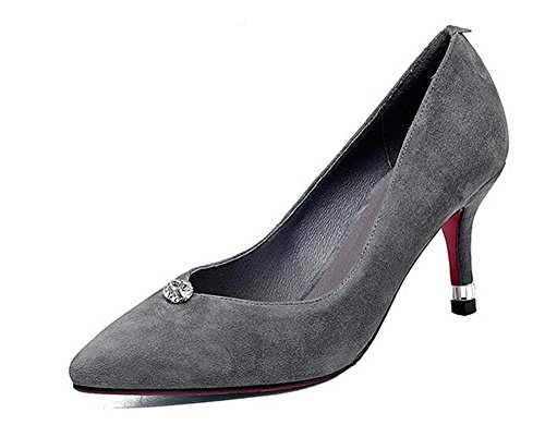 Beauqueen Pumps Scarpin Wildleder Square-Toe Kitten Ferse Work Casual Schuhe EU Größe 34-39 Grey