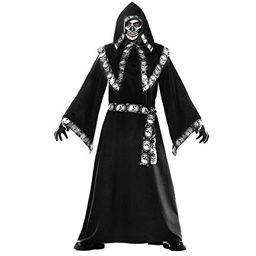 Halloween Black Magic Long Cape Kapuzenmantel, Wizard Cosplay Kostüm Für Herren, Unisex Death - Hexe Mystic Kostüm