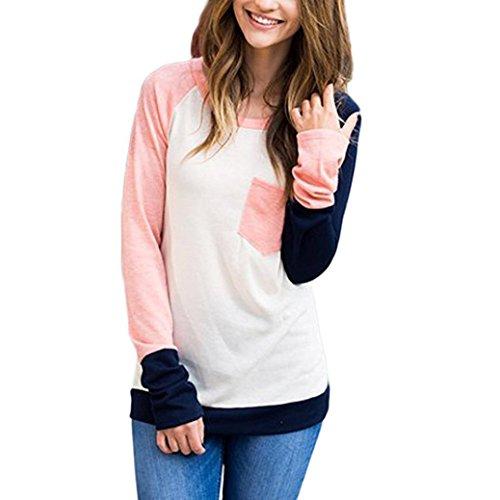 Damen Langarmshirt Baseball Langarm T-Shirt Rundhals Sweatshirt Frauen Patchwork Blusen Top Herbst von Sannysis (S, Rosa) Adult-patchwork Shirt
