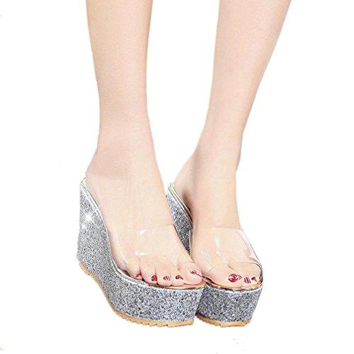 Koly_Slope estate delle donne di modo con il Infradito Sandali fannulloni Scarpe Argento
