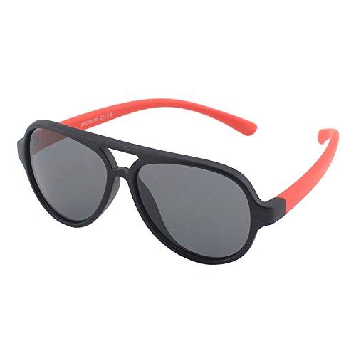 CGID caoutchouc flexible enfants aviator lunettes de soleil polarisées pour bébé et enfants 3-10 ans, K93 Noir Rouge
