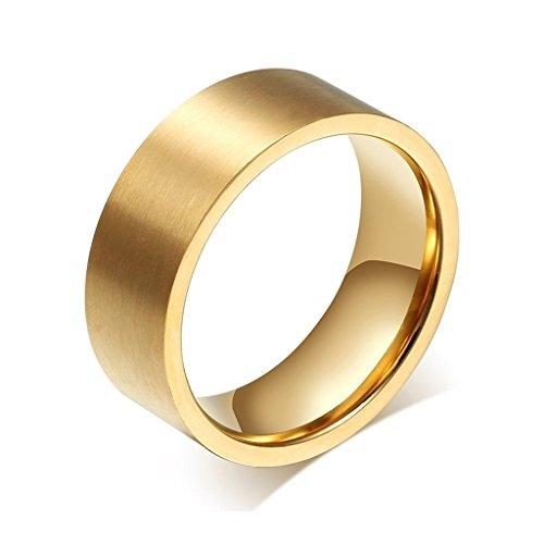 Uomo Donna Matrimonio Banda Acciaio Inossidabile Gold Glassa Larghezza 8 Millimetri Dimensione 20 Di AieniD