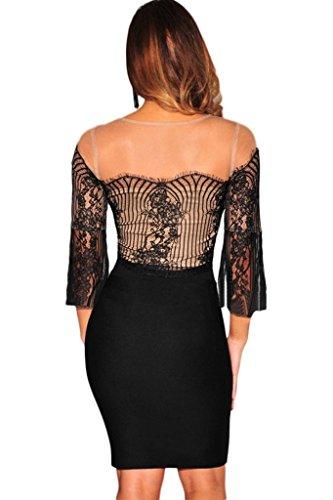 Bigood Combinaison Femme Tops Transparent Jupe Enveloppante Cocktail Clubwear Noir