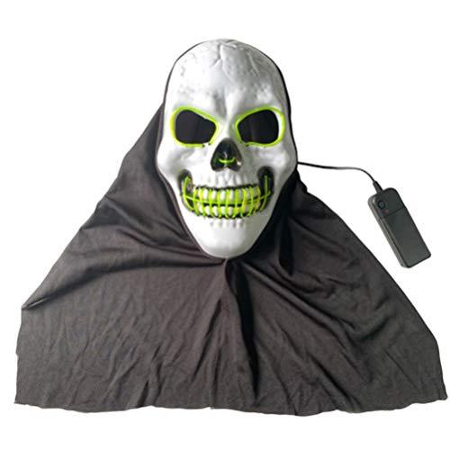 Amosfun Halloween führte Schädel Maske glühende Totenmaske beängstigend Cosplay Maske Halloween Festival Party