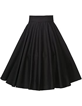 Candow Look Falda Mujer Negro Circle Plus Size Black Skirts