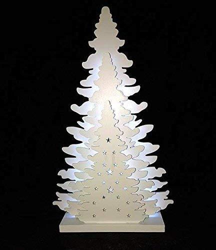 Garden mile grande 36cm illuminare a batteria bianco shabby chic legno piano del tavolo 3d effetto albero di natale con luci led festivo finestra o decorazione ornamento