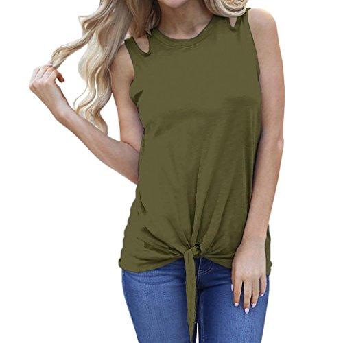 Maglietta da donna,sonnena top di fascia senza maniche da donna canotte t-shirt senza maniche con spalle scoperte e fasciatura da donna camicie donne eleganti (l, verde)
