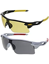 Vast Sports Unisex Sunglasses(Combo_9181_C1_C3|Yellow, Grey)