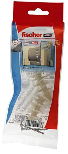 Fischer 538071 Montageset Lampe / Briefkasten in gedämmten Fassaden, Dübel und Schrauben Set, 5 Teile