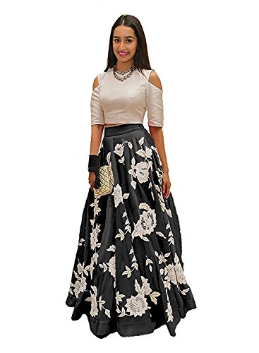 vaankosh fashion Women's Embroidered Partywear Latest Collection Skirt/Lehenga (Black)
