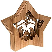 Clever Creations - Estrella de Navidad con un Nacimiento - Escena Religiosa Coleccionable - Diseño de Capas con luz LED en la Parte Trasera - Funciona a Pilas - 100% Madera - 26,7 cm