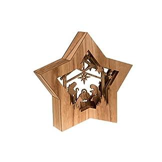 Clever Creations – Estrella de Navidad con un Nacimiento – Escena Religiosa Coleccionable – Diseño de Capas con luz LED en la Parte Trasera – Funciona a Pilas – 100% Madera – 26,7 cm