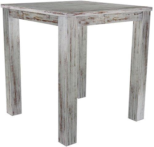 Brasil Meubles Haut 'Rio Classico' Table 120 x 120 cm, Pin Massif, Coloris chêne Shabby