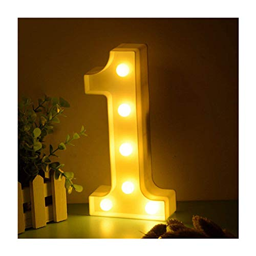 LED Zahlen Lampe Nummer Beleuchtete Ziffern 0 1 2 3 4 5 6 7 8 9,Warm Weiße Lichter Dekoration Lichter Festzelt Licht, für Party Hochzeit Empfänge Home, Batteriebetrieben, von DUBENS (1)