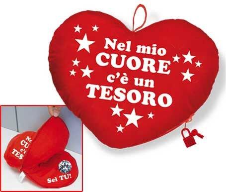 Cuscino cuore pelouche s.valentino rosso con diamante cod. 10759