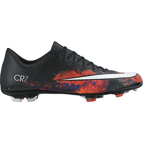 Nike Jr Mercurial Vapor X Cr Fg, Chaussures de Sport Fille Noir / Blanc / Orange (Noir / Blanc-Total Crimson)