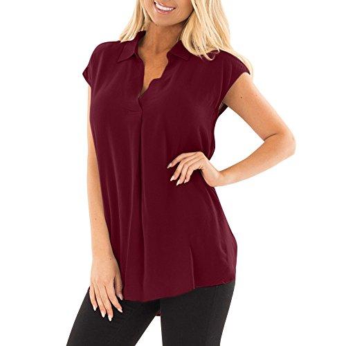 Luckhome Damen Bluse Ärmellos Casual Oberteile V Ausschnitt Mode Hemd Elegante Tank Tops,Plus Size Lässige Ärmellose Plissee Locker Chiffon Top (Wein,XL)