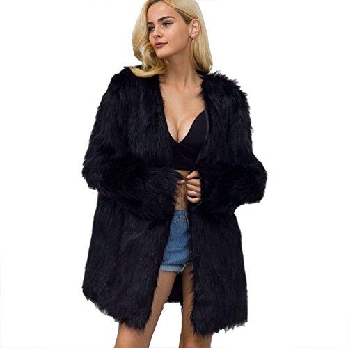 Yuandian donna autunno e inverno casuale mid lungo colore solido v collare baggy giubbotti in pelliccia sintetica faux ecologiche pellicce cappotto giaccone nero m