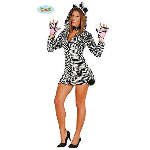 Kostüm Kapuzen Sexy Zebra - Amakando Damen Zebrakostüm - XS/S (36/38) - Zebrakleid mit Kapuze Tierkostüm Pferd Safari Verkleidung Afrika Damenkostüm Sexy Zebra Kostüm