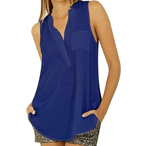 Sanfashion bekleidung camicia - con bottoni - tinta unita - rimovibile - senza maniche - donna blu m