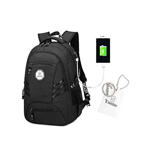 Yoome Anti-furto Laptop Zaino Borse da lavoro con porta USB di ricarica Resistente allacqua Bookbag scuola per zaino da viaggio College per laptop da 15.6 pollici e Notebook - Blu Nero