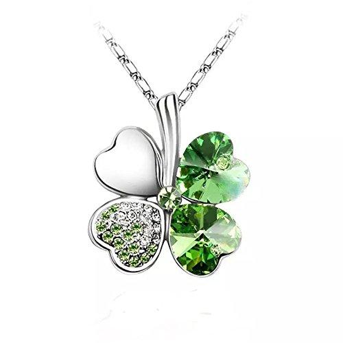 Colgante de cristal austríaco Lucky Clover, color verde, amuleto de la suerte, el día de San Patricio, encanto irlandés