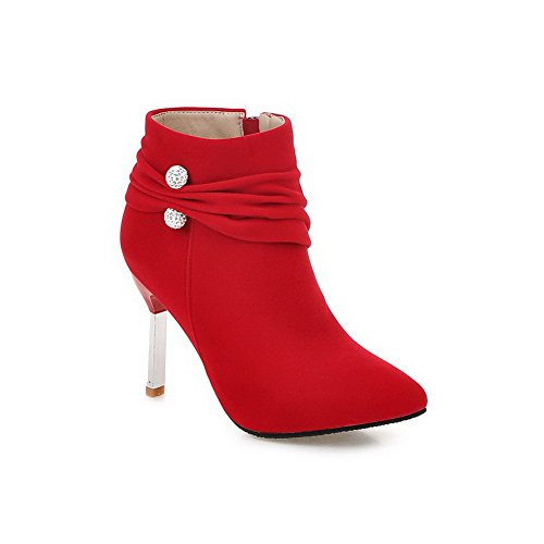 VogueZone009 Damen Stiletto Mattglasbirne Niedrig-Spitze Rein Reißverschluss Stiefel, Rot, 36