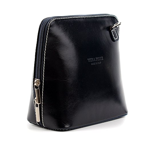 - 41QZoBqLBwL - Italian Ladies Small Leather Handbag Cross Body with Shoulder Strap (Jet Black)
