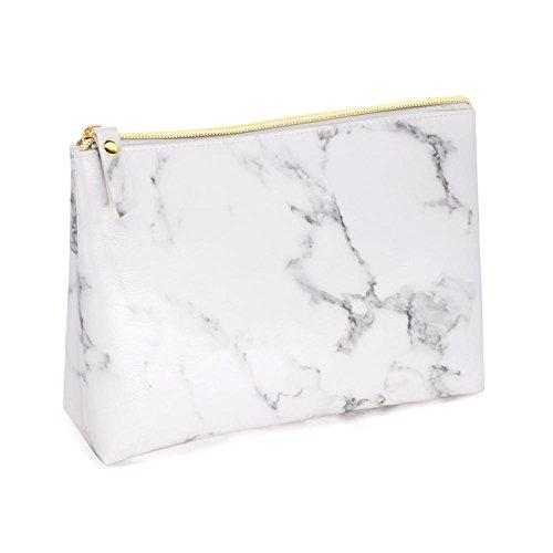 Motif de marbre Blanc Portable Beauté Voyage Trousse à Maquillage Rectangle PU Sac Cosmétique Femme, Taille L