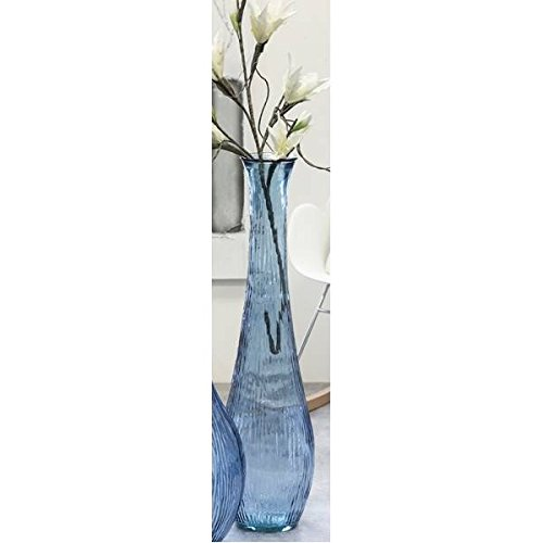 Jarrón de Suelo, jarrón de cristal Bodega Azul H. 100cm D. 26cm...