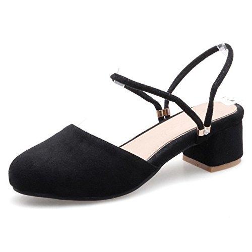 COOLCEPT Damen Mode Knochelriemchen Sandalen Geschlossene Slingback Blockabsatz  Schuhe Schwarz