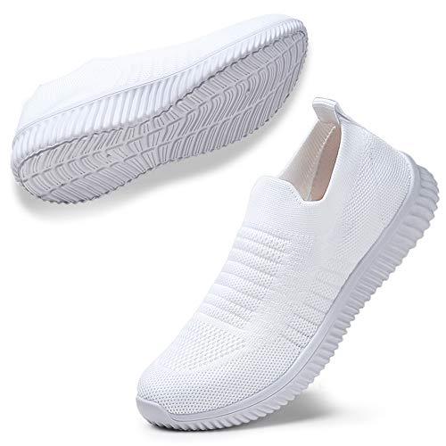 STQ Damen Mesh Slip On Sneakers Walking Outdoor Gym Bequem Leichte Atmungsaktiv Freizeitschuhe(Weiß41) -