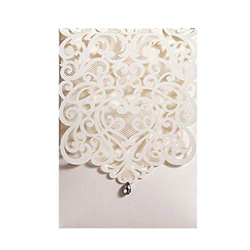Wishmade 20X Ivoire Laser coupe des cartes d'Invitations de mariage avec strass Vertical Floral...