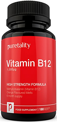 Vitamin B12 Methylcobalamin 1000mcg 180 Tablets (6 Month Supply) - 100% MONEY BACK GUARANTEE – High Strength Methylcobalamin B12 Sublingual Tablets Suitable for Vegetarians by Puretality Test