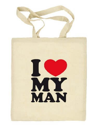 Shirtstreet24, I LOVE MY MAN, Valentinstag Vatertag Natur Stoffbeutel Jute Tasche (ONE SIZE) Natur