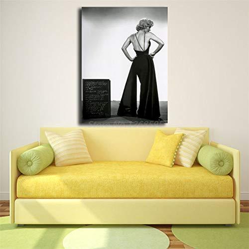 jiushice Kein Rahmen In Einem Low Back Abendkleid HD Wandkunst Leinwand Poster Drucke ng Wandbilder Für Wohnzimmer Wohnkultur60x90 cm
