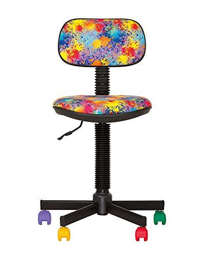 CHAISE-EXPERT BAMBO- Sedia da Ufficio per Bambini, ergonomica, Altezza Seduta 42 cm-56 cm. Altezza Schienale Regolabile/Girevole a 360°/Ruote Multicolore/Nero. Prezzo