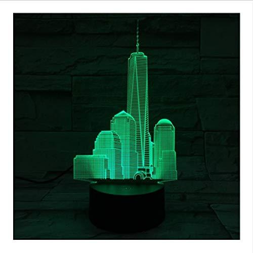 YS753 World Trade Center USB 3D LED Nuit Lumière Lampe Décoration RGB Enfants Cadeau De Bébé Bâtiments Célèbres Table Lampe De Chevet Néon
