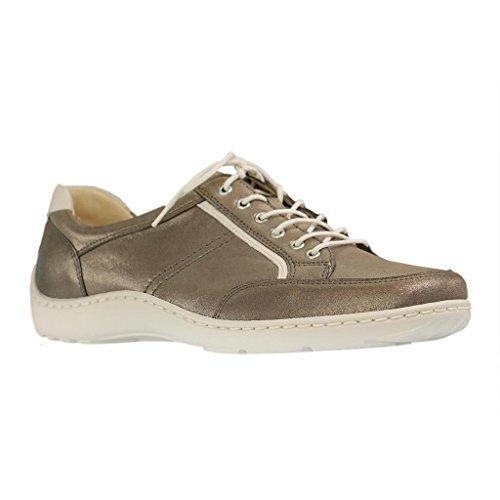 Waldläufer merletto delle signore Henni 496013-886-088 offwhite grigio grau