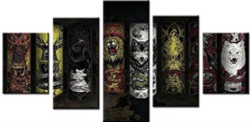 obella Modern Leinwand Bilder Drucke Art Wand 5Stück || Reh Löwe Wolf Hawk Graffiti || Poster Öl Gemälde Prints und Bilder Foto Wand Kunst für Zuhause (Kit Kuh Zubehör)