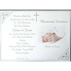 25, 50, 75 oder 100 x Personalisierte Twins / Girls / Boys / oder Mädchen & Boys Taufe / Taufe Einladungen Design (B) mit oder ohne Foto & freie Umschläge ...