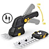 TECCPO Grass Shears, Cordless 2in1 Compact Hedge Trimmer and Garden Shears Combo with 3.6V LithiumIon Battery and USB Charger, Pivoting Handle TDGS01G