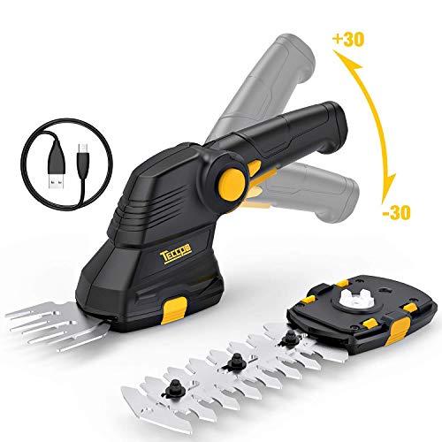 TECCPO Akku Grasschere, 3.6V 1.5Ah, USB-Ladekabel, Akku Strauchschere, 2 in 1 Schneller Werkzeugloser Schalter, Drehgriff, Deal für den Garten - TDGS01G -