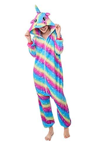 nhorn Tiger Lion Fox Onesie Tier Schlafanzug Cosplay Pyjamas Halloween Karneval Kostüm Loungewear (Unicorn Sky-Star, M passt Höhe 155-165cm) ()