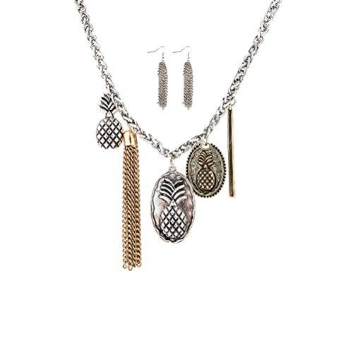 TENDYCOCO Vintage Pullover Kette Ananas Pullover Kette mit Ohrringen für Mädchen Damen Damen (Silber)