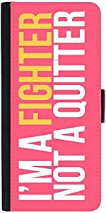 Snoogg Im A Fighter Graphic Snap On Hard Back Leather + Pc Flip Cover Moto-E