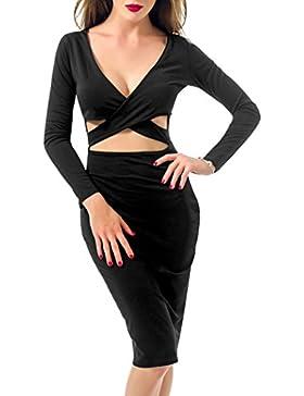Figurbetontes Kleid Knielang, GRAVOG Sexy Fest V Ausschnitt Langarm Bodycon Kleid 2 teilig, Verschiedene Farben...